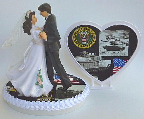 Army wedding cake topper Fun Wedding Things U.S. military service enlisted bride groom dancing pretty gift reception