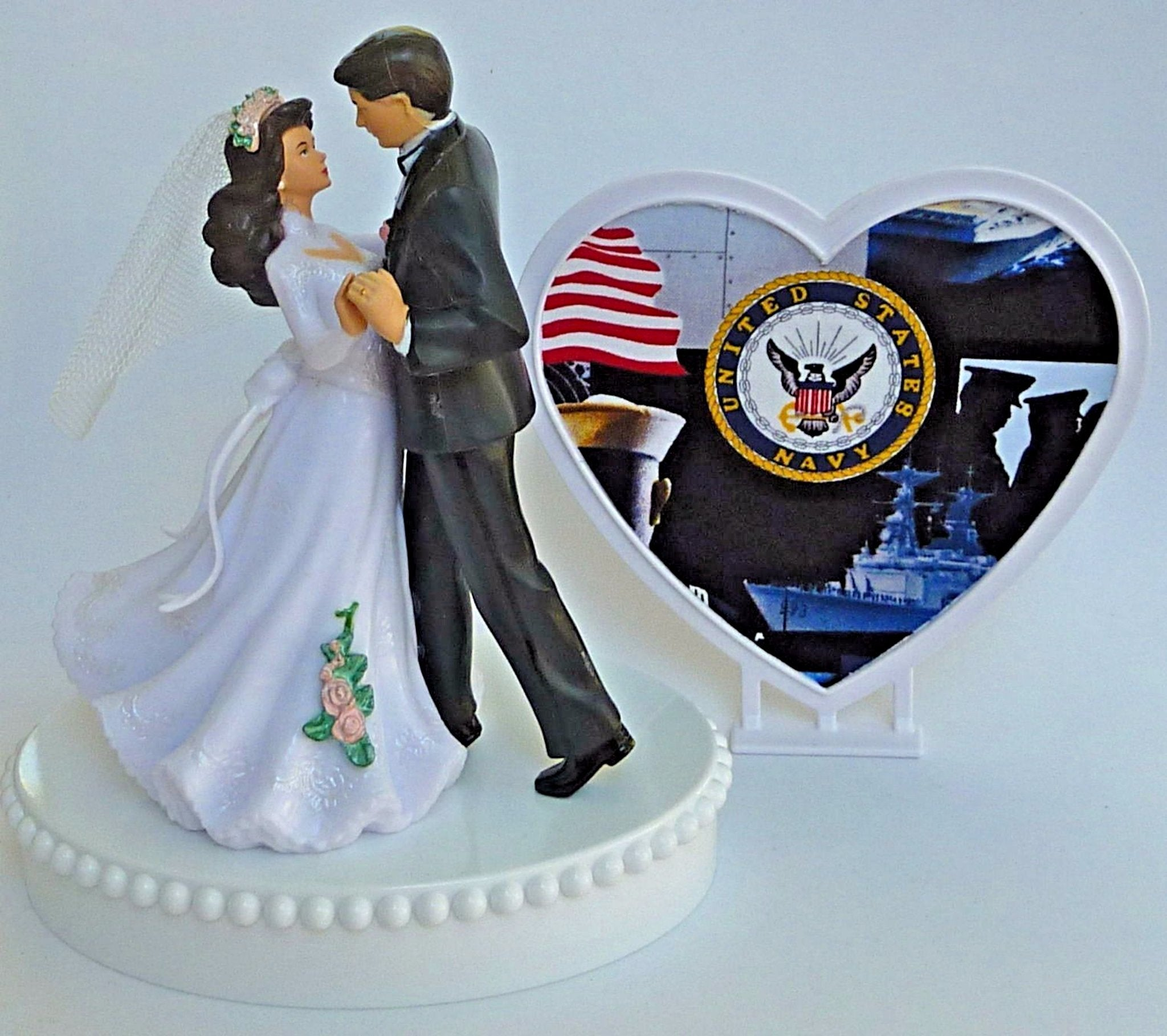 Navy wedding cake topper Fun Wedding Things U.S. military groom's cake top service enlisted USN heart couple dancing bride groom