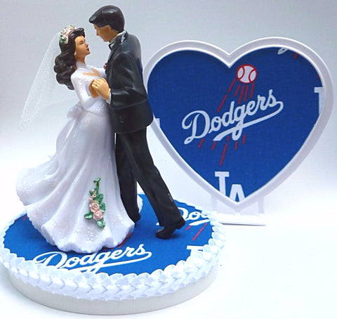 LA Dodgers wedding cake topper Los Angeles baseball dancing bride groom pretty couple sports fans L.A. Fun Wedding Things reception gift