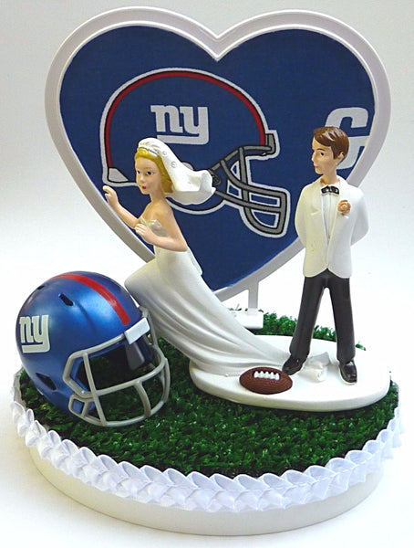FunWeddingThings.com New York Giants wedding cake topper NY football green turf grass helmet unique funny