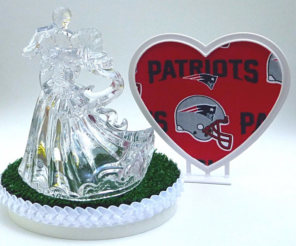 New England Patriots green turf wedding cake topper FunWeddingThings.com NFL football