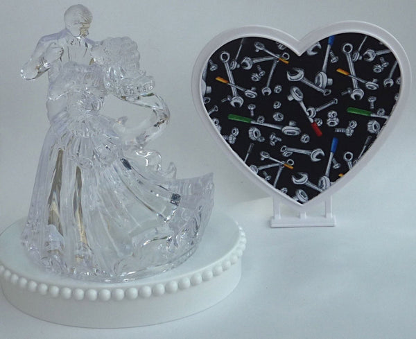 FunWeddingThings.com mechanic wedding cake topper garage grease monkey repair tools heart backdrop pretty top