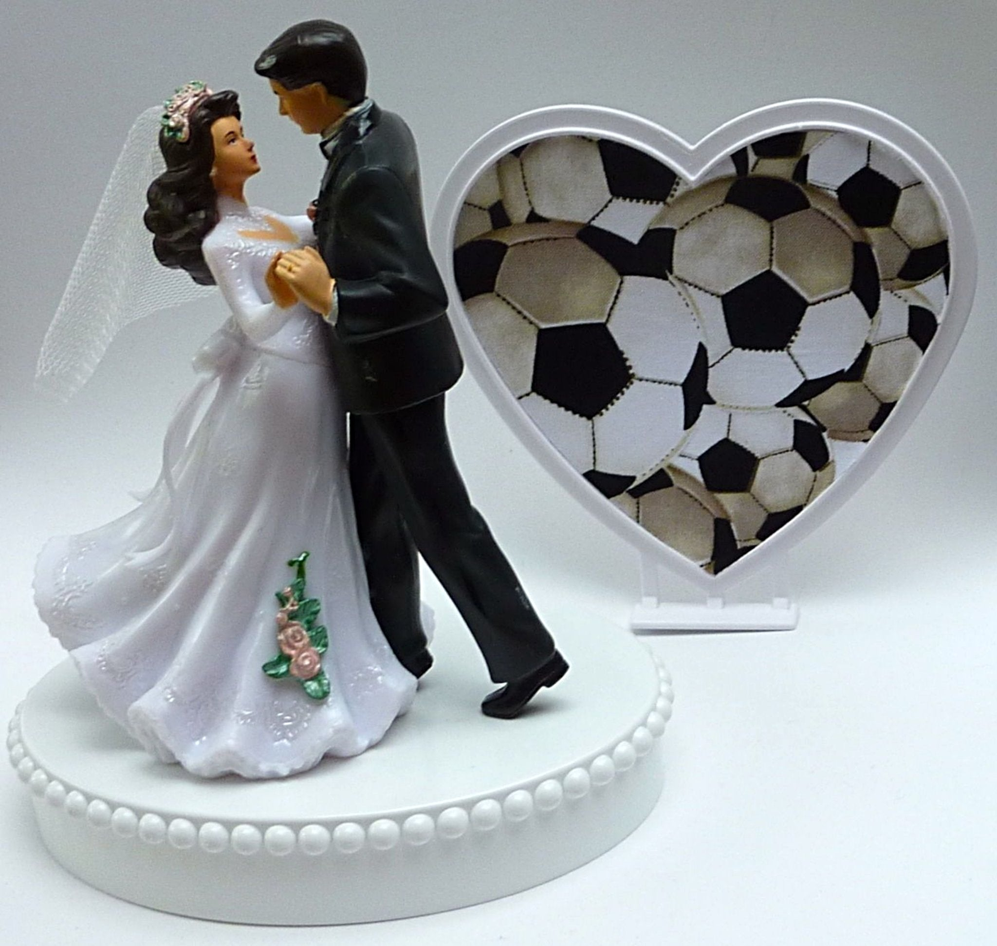 Soccer wedding cake topper bride groom's cake top dancing ball heart pretty reception gift idea Fun Wedding Things