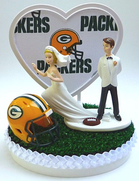 Packers wedding cake topper Green Bay football turf grass helmet heart bride groom's cake top original unique Fun Wedding Things reception gift party
