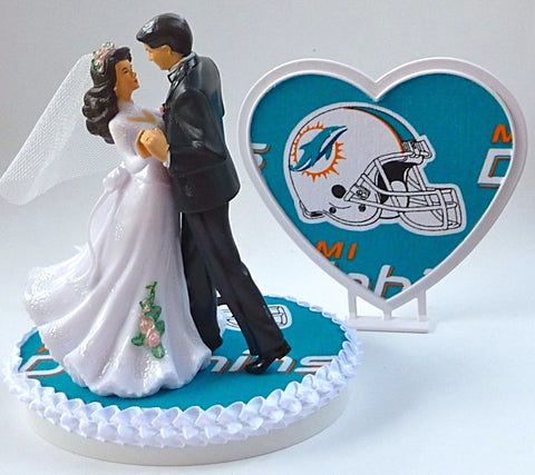 Miami Dolphins wedding cake topper pretty heart backdrop bride groom dancing Fun Wedding Things reception gift idea shower party
