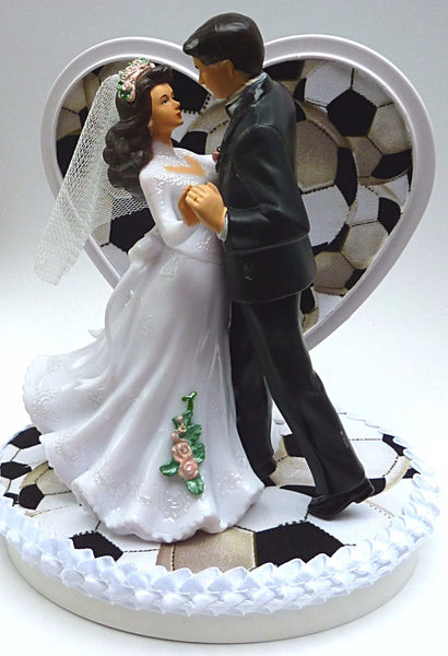 Wedding cake topper soccer ball Fun Wedding Things bride groom dancing heart pretty sports fans unique