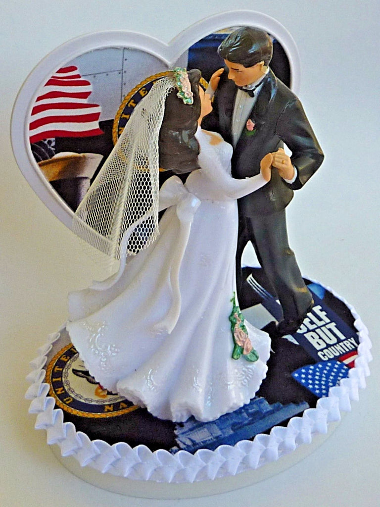 Wedding Cake Topper Us Navy Themed Military Couple Dancing Usn