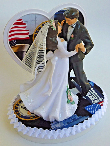 U.S. Navy cake topper wedding FunWeddingThings.com service enlisted Navy reception gift unique heart pretty
