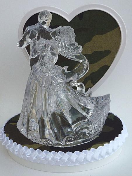 Camouflage wedding cake topper green camo FunWeddingThings.com clear bride groom dancing pretty heart