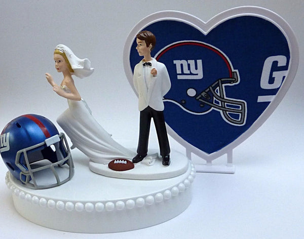 NY Giants wedding cake top New York football groom's topper bride runaway FunWeddingThings.com humorous funny