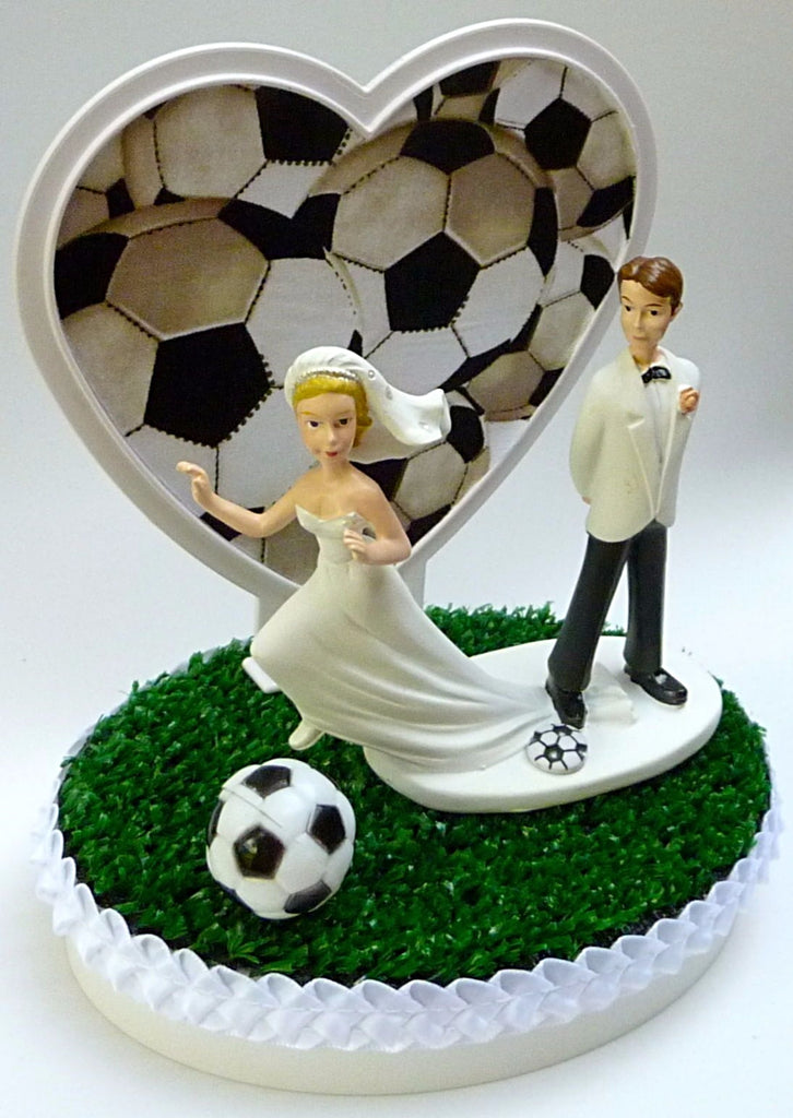 Wedding Cake Topper Soccer Sports Themed Runaway Bride Turf Top ...