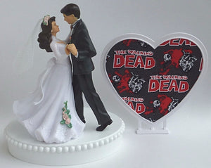 Walking Dead cake topper wedding bride groom zombies dancing Fun Wedding Things gift unique