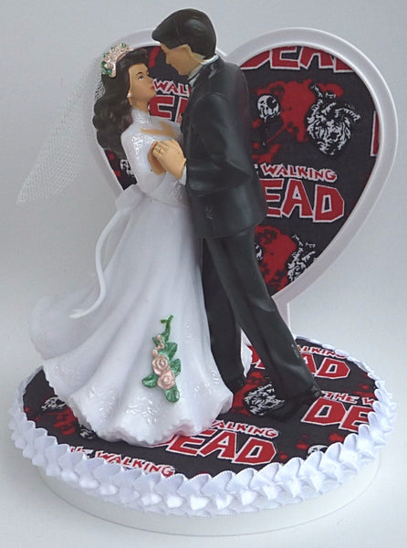 Walking Dead wedding cake topper FunWeddingThings.com dancing bride groom zombies humorous pretty reception gift