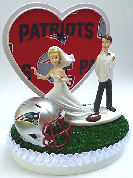 FunWeddingThings.com New England Patriots wedding cake topper green turf grass humorous funny bride runaway groom NFL football gift reception