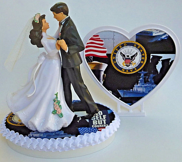 U.S. Navy wedding cake topper Fun Wedding Things enlisted service pretty heart reception gift