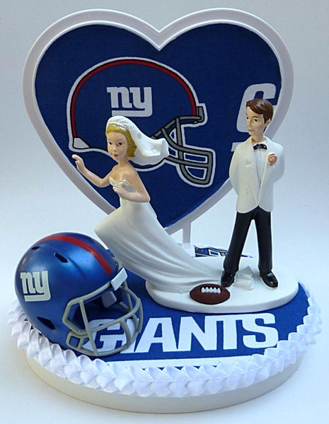 New York Giants wedding cake top groom's football cake topper Fun Wedding Things reception party gift idea humor