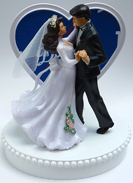 Wedding Cake Topper - Los Angeles Dodgers Baseball Themed Couple Dancing LA
