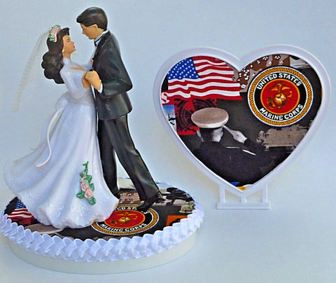 Marines wedding cake topper FunWeddingThings.com U.S. Marine Corps enlisted service military bride groom dancing pretty