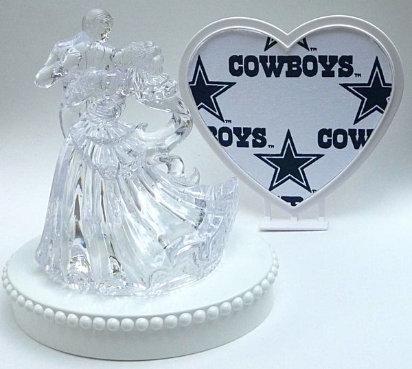 Cowboys wedding cake top Dallas groom's cake topper FunWeddingThings.com NFL football turf topper unique