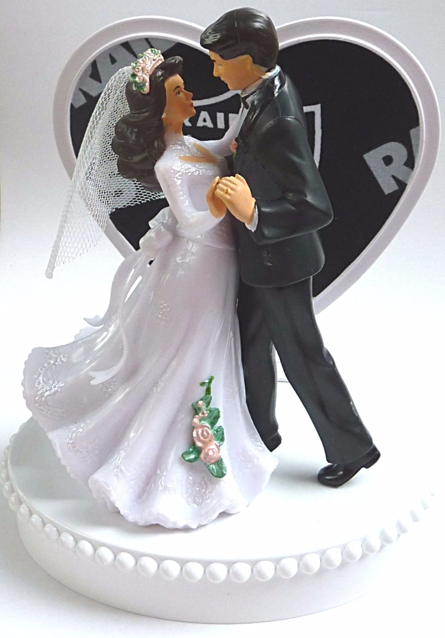Wedding Cake Topper - Oakland Raiders Football Themed Couple Dancing ...