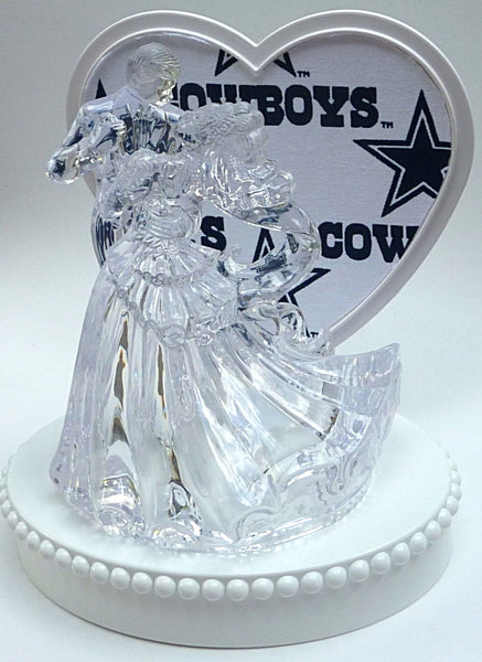 Wedding cake topper NFL football FunWeddingThings.com sports Dallas Cowboys groom's cake top
