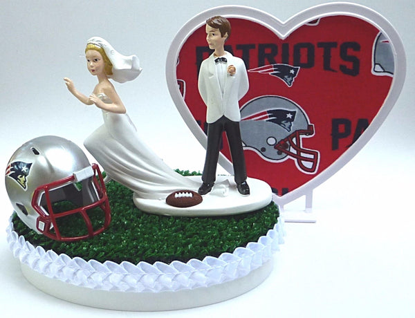 Patriots wedding cake top New England groom's topper NFL football green turf grass helmet humorous FunWeddingThings.com