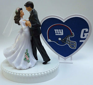 NY Giants cake top wedding topper football New York sports fans bride groom dancing Fun Wedding Things