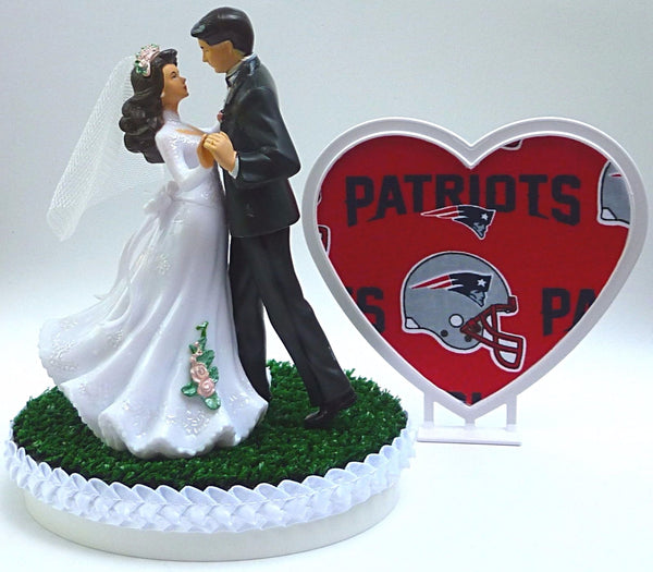 Patriots cake topper wedding New England bride groom dancing pretty heart green turf shower gift idea Fun Wedding Things