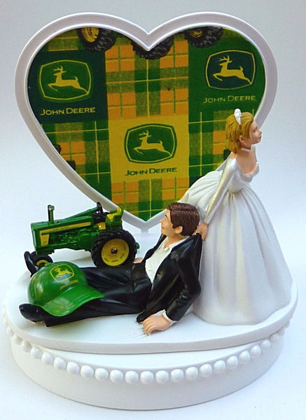 Farming wedding cake topper Fun Wedding Things John Deere tractor humorous bride groom
