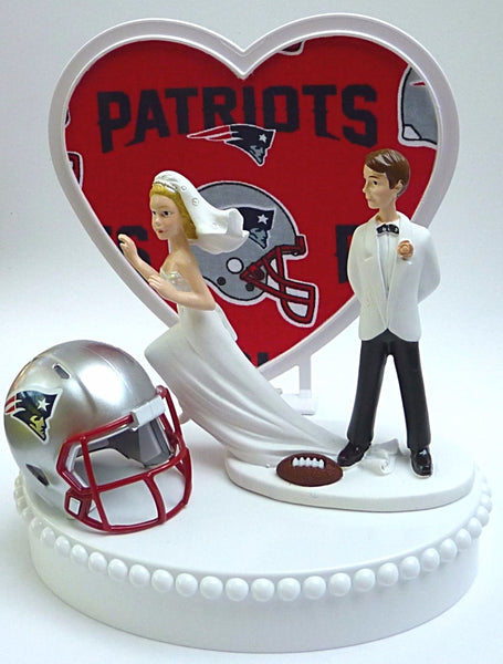 Patriots wedding cake topper football New England FunWeddingThings.com NFL football sports fans humorous reception runaway bride groom's top