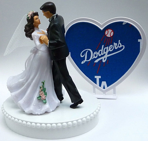 Dodgers wedding cake topper MLB baseball sports fans bride groom dancing pretty heart background Fun Wedding Things reception gift idea