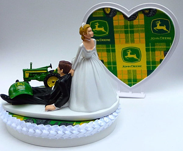 FunWeddingThings.com John Deere wedding cake topper green tractor farming farmer cake top bride groom humorous