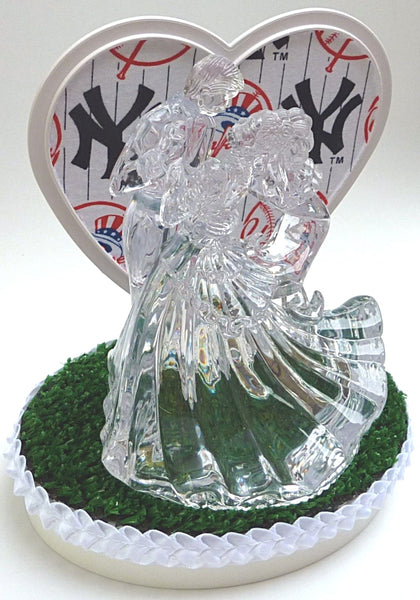 Bride groom dancing wedding cake topper New York Yankees baseball