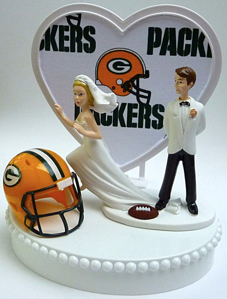 Packers wedding cake topper NFL football Green Bay FunWeddingThings.com humorous funny unique bride groom running away sports fans gift