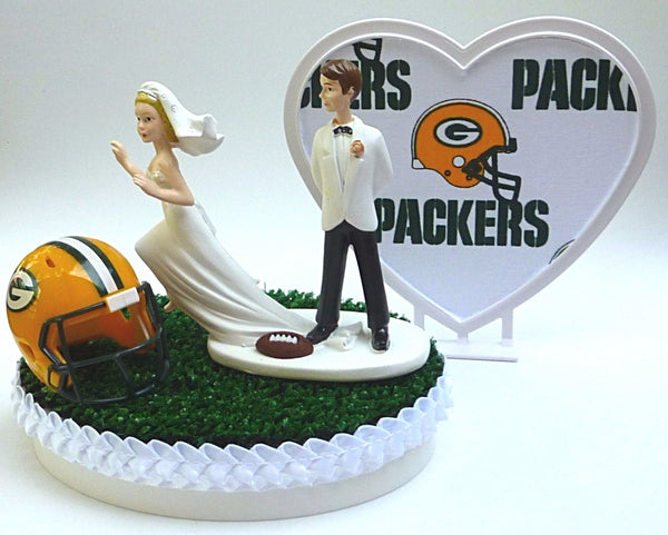 Green Bay cake topper Packers football green turf grass funny NFL FunWeddingThings.com bride running away groom's cake top gift idea