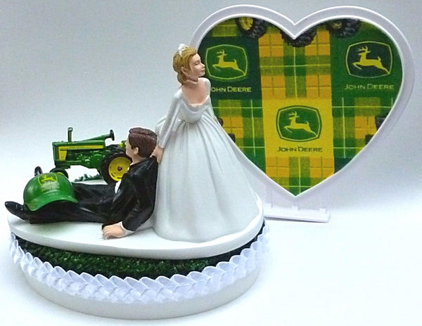 John Deere cake top wedding groom's topper Fun Wedding Things humorous bride dragging farming