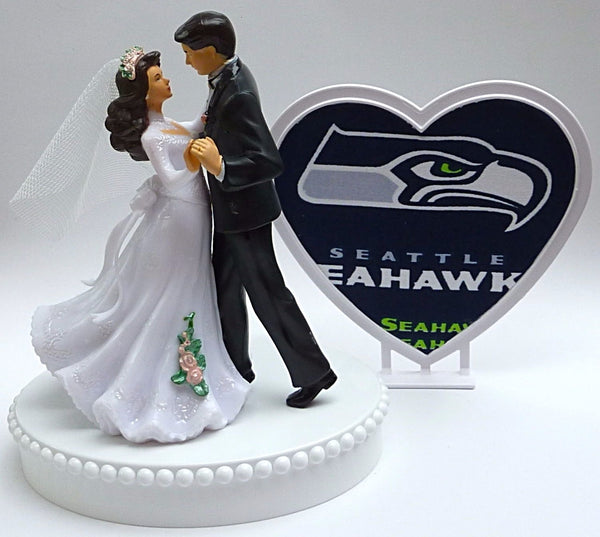 Seahawks cake topper wedding Seattle football FunWeddingThings.com dance couple bride groom sports fans unique pretty heart