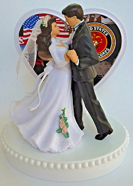 USMC wedding cake topper Marine Corps U.S. Marines FunWeddingThings.com groom's cake top bride dancing enlisted couple military service man woman