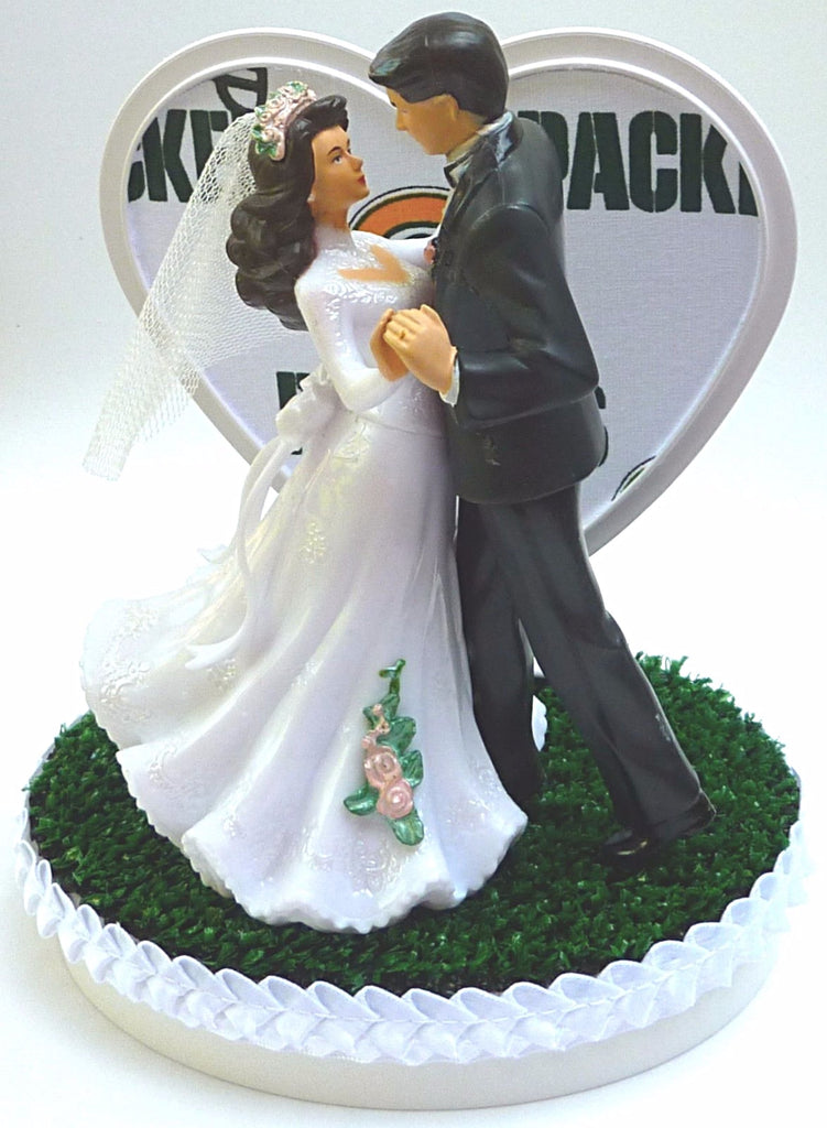 Wedding Cake Topper Green Bay Packers Football Themed Couple