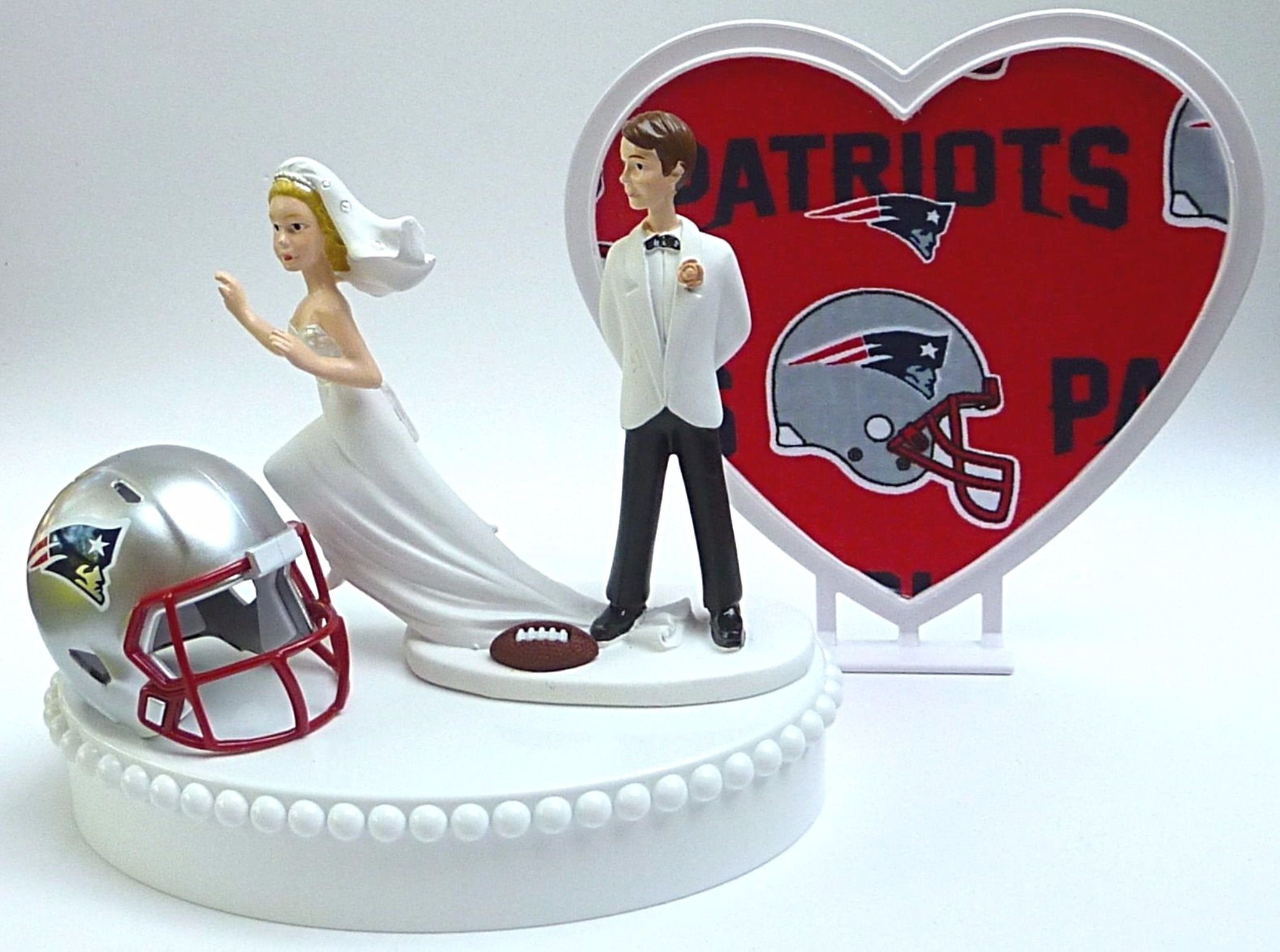 NE Patriots wedding cake topper NFL football Fun Wedding Things New England sports fans bride runaway groom humorous reception gift party idea