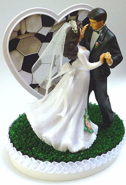 Soccer wedding cake topper Fun Wedding Things bride groom dancing heart green turf grass ball pretty heart reception gift