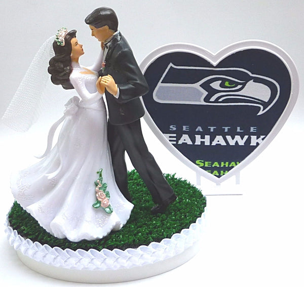 Fun Wedding Things Seattle Seahawks cake topper bridal shower gift reception fun green turf heart unique dancing