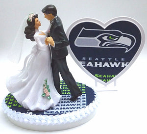 Seahawks wedding cake topper Seattle football Fun Wedding Things bride groom dancing heart pretty reception gift shower