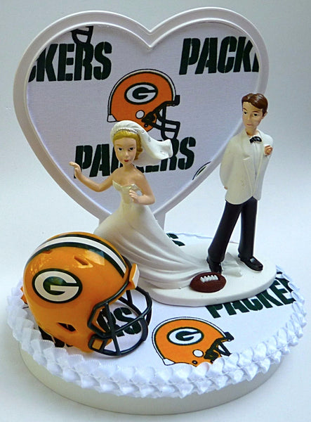 Fun Wedding Things Packers cake topper Green Bay wedding cake top groom's football NFL fans fun bride runaway groom