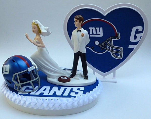 New York Giants wedding cake topper humorous bride groom NY football NFL Fun Wedding Things heart