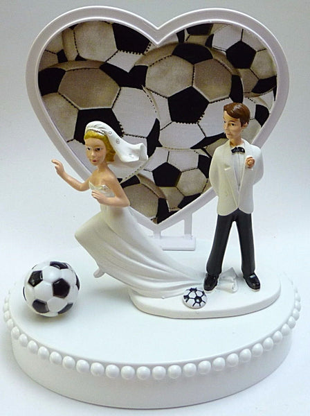 Soccer bride and groom cake topper wedding reception