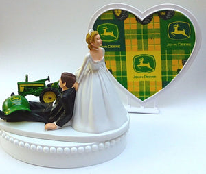 Farming wedding cake topper John Deere tractor FunWeddingThings.com bride dragging groom funny humorous reception gift
