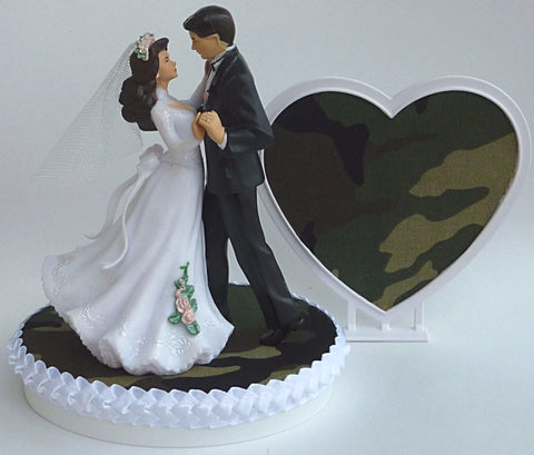Camo wedding cake topper camouflage hunting green outdoors bride groom dancing pretty heart FunWeddingThings.com
