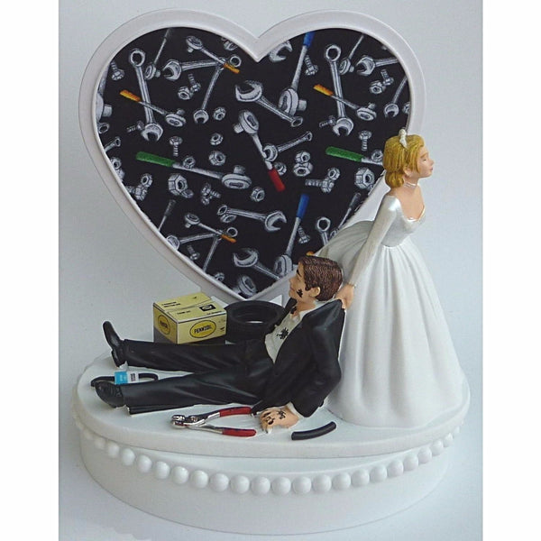 Grease monkey cake topper wedding auto repair mechanic Fun Wedding Things tools heart pretty funny fans humorous