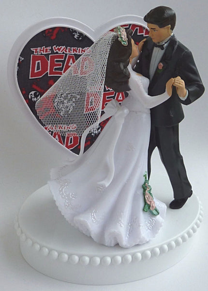 Zombies wedding cake topper Fun Wedding Things Walking Dead bride groom humorous cake top gift party reception
